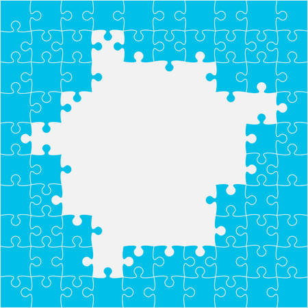 Background made with blue pieces puzzle. Vector square banner jigsaw template with particles, details, tiles, parts. Frame pattern for education and presentation with element piece puzzle.