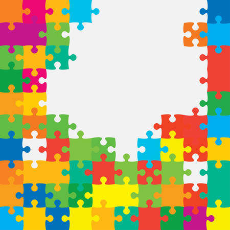Background made with color pieces puzzle. Vector square banner jigsaw template with particles, details, tiles, parts. Frame pattern for education and presentation with element piece puzzle.