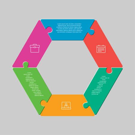 Six pieces puzzle hexagonal diagram. Hexagon business presentation infographic. 6 steps, parts, pieces of process diagram. Section compare banner. Jigsaw puzzle info graphic. Marketing strategy. Ilustração