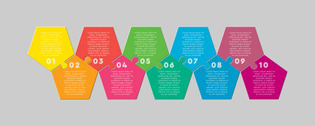 Ten pieces puzzle pentagon diagram. Penta business presentation infographic. 10 steps, parts, pieces of process diagram. Section compare banner. Jigsaw puzzle info graphic. Marketing strategy.