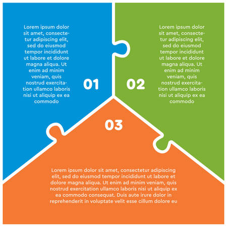 Three options puzzle squares diagram. Squares business presentation infographic. 3 steps, parts, pieces of process diagram. Section compare banner. Jigsaw puzzle info graphic. Marketing strategy.