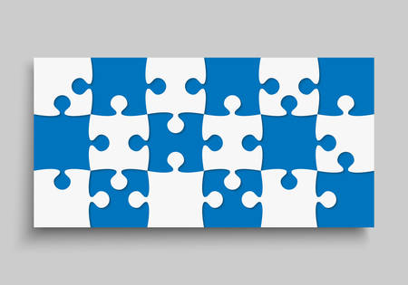 Background made with 18 blue pieces puzzle. Vector rectangle banner jigsaw template with particles, details, tiles, parts. Frame pattern for education and presentation with element piece puzzle.