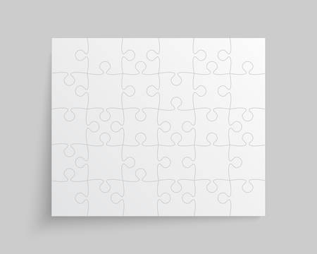 Background made with 30 white pieces puzzle. Vector rectangle banner jigsaw template with particles, details, tiles, parts. Frame pattern for education and presentation with element piece puzzle. Ilustrace