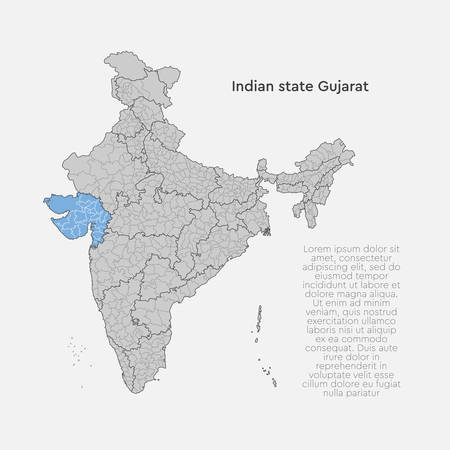 Detailed vector India country outline border map isolated on background. Gujarat state, region, area, province, territory, department for your report, infographic, backdrop, business concept. Illustration