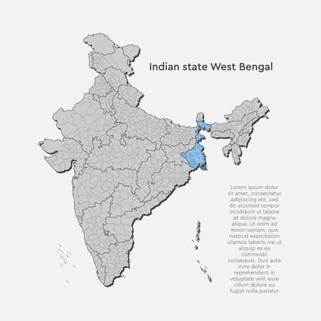 Detailed vector India country outline border map isolated on background. West Bengal state, region, area, province, territory, department for your report, infographic, backdrop, business concept.
