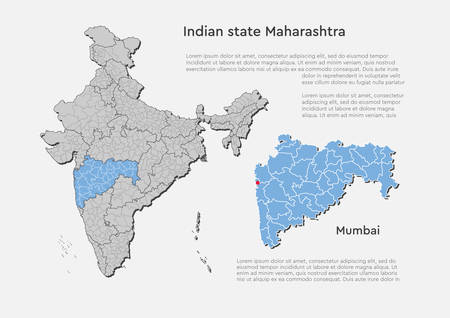 Detailed vector India country outline border map isolated on background. Maharashtra state, region, area, province, territory, department for your report, infographic, backdrop, business concept. Vetores