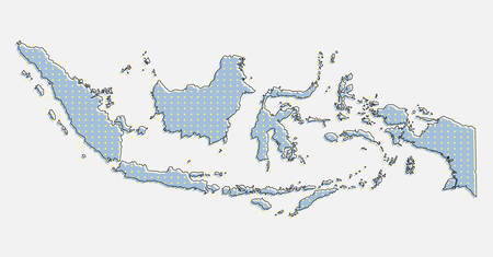 Creative vector Indonesia country map made of dots, points isolated on background. Indonesia template for your pattern, backdrop, poster. National technology modern sign concept.