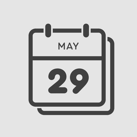 Icon calendar day - 29 May. Days f the year. Vector illustration flat style. Date day of month Sunday, Monday, Tuesday, Wednesday, Thursday, Friday, Saturday. Holidays in May