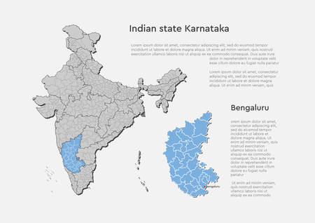 Detailed vector India country outline border map isolated on background. Karnataka state, region, area, province, territory, department for your report, infographic, backdrop, business concept. Illustration