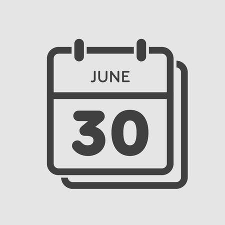 Icon calendar day - 30 June. Days f the year. Vector illustration flat style. Date day of month Sunday, Monday, Tuesday, Wednesday, Thursday, Friday, Saturday. Holidays in summer June. Vecteurs