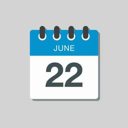 Icon calendar day - 22 June. Days f the year. Vector illustration flat style. Date day of month Sunday, Monday, Tuesday, Wednesday, Thursday, Friday, Saturday. Holidays in summer June.