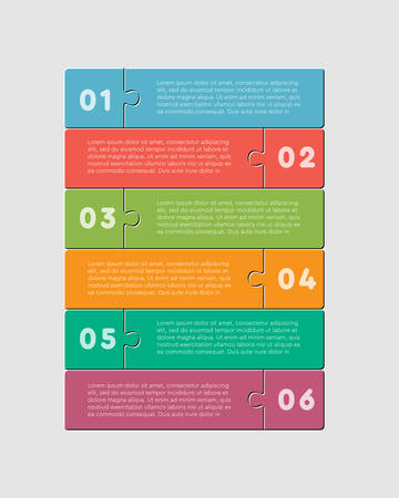 Six pieces puzzle squares diagram. Rectangles business presentation infographic. 6 steps, parts, pieces of process diagram. Section compare banner. Jigsaw puzzle info graphic. Marketing strategy.