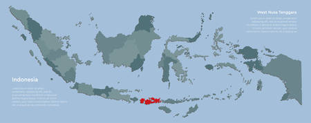 Detailed vector Indonesia country border map isolated on background. West Nusa Tenggara province template travel trip pattern, report, infographic, backdrop. Asia nation business silhouette concept. Illustration