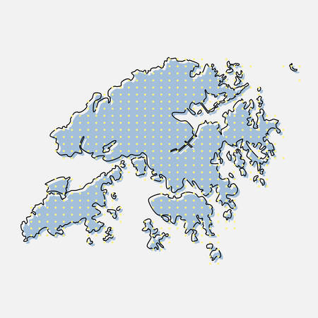 Creative vector Hong Kong country map made of dots, points isolated on background. Hong Kong template for your pattern, backdrop, poster. National technology modern sign concept.