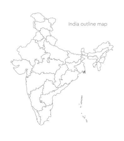 Detailed vector India country outline border map isolated on background. Divided on state, region, area, province, territory, department for your report, infographic, backdrop, business concept.