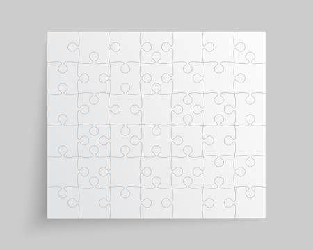 Background made with 42 white pieces puzzle. Vector rectangle banner jigsaw template with particles, details, tiles, parts. Frame pattern for education and presentation with element piece puzzle.