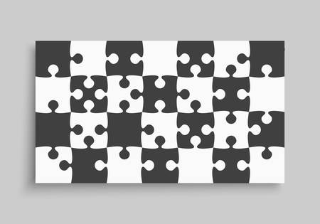 Background made with 28 pieces puzzle. Vector rectangle banner jigsaw template with particles, details, tiles, parts. Frame pattern for education and presentation with element piece puzzle.