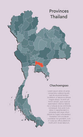 Detailed vector Thailand country border map isolated on background. Chachoengsao province template travel trip pattern, report, infographic, backdrop. Asia nation business silhouette sign concept.