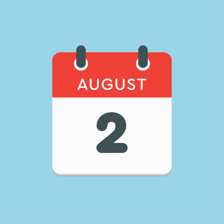 Vector icon calendar day - 2 August. Days of the year. Vector illustration flat style. Date day of month Sunday, Monday, Tuesday, Wednesday, Thursday, Friday, Saturday. Summer holidays in spring August.