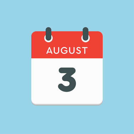 Vector icon calendar day - 3 August. Days of the year. Vector illustration flat style. Date day of month Sunday, Monday, Tuesday, Wednesday, Thursday, Friday, Saturday. Summer holidays in spring August. Ilustracja