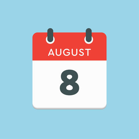 Vector icon calendar day - 8 August. Days of the year. Vector illustration flat style. Date day of month Sunday, Monday, Tuesday, Wednesday, Thursday, Friday, Saturday. Summer holidays in spring August.