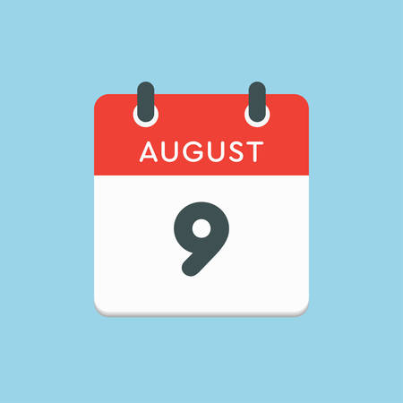 Vector icon calendar day - 9 August. Days of the year. Vector illustration flat style. Date day of month Sunday, Monday, Tuesday, Wednesday, Thursday, Friday, Saturday. Summer holidays in spring August.