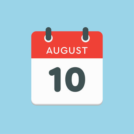 Vector icon calendar day - 10 August. Days of the year. Vector illustration flat style. Date day of month Sunday, Monday, Tuesday, Wednesday, Thursday, Friday, Saturday. Summer holidays in spring August.