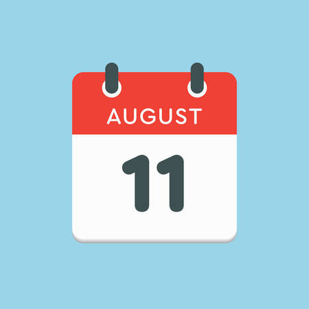 Vector icon calendar day - 11 August. Days of the year. Vector illustration flat style. Date day of month Sunday, Monday, Tuesday, Wednesday, Thursday, Friday, Saturday. Summer holidays in spring August.
