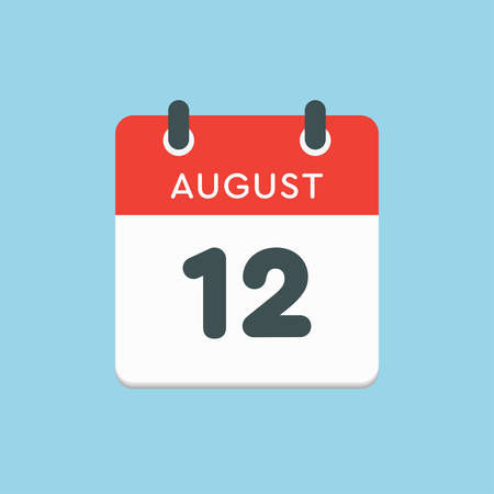 Vector icon calendar day - 12 August. Days of the year. Vector illustration flat style. Date day of month Sunday, Monday, Tuesday, Wednesday, Thursday, Friday, Saturday. Summer holidays in spring August.