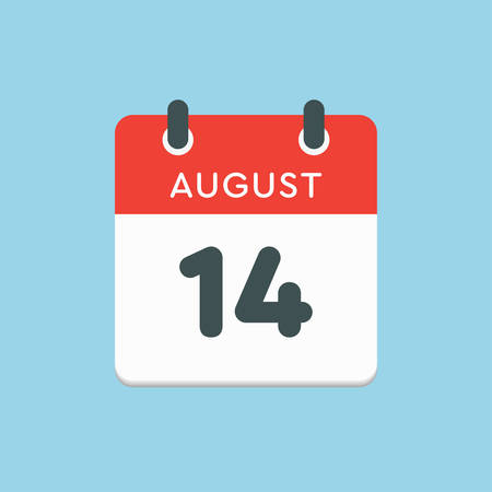 Vector icon calendar day - 14 August. Days of the year. Vector illustration flat style. Date day of month Sunday, Monday, Tuesday, Wednesday, Thursday, Friday, Saturday. Summer holidays in spring August.