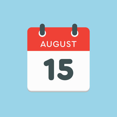 Vector icon calendar day - 15 August. Days of the year. Vector illustration flat style. Date day of month Sunday, Monday, Tuesday, Wednesday, Thursday, Friday, Saturday. Summer holidays in spring August.
