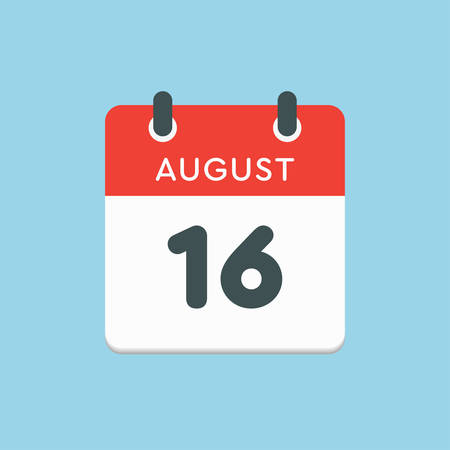 Vector icon calendar day - 16 August. Days of the year. Vector illustration flat style. Date day of month Sunday, Monday, Tuesday, Wednesday, Thursday, Friday, Saturday. Summer holidays in spring August. Ilustracja