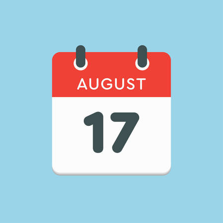 Vector icon calendar day - 17 August. Days of the year. Vector illustration flat style. Date day of month Sunday, Monday, Tuesday, Wednesday, Thursday, Friday, Saturday. Summer holidays in spring August.