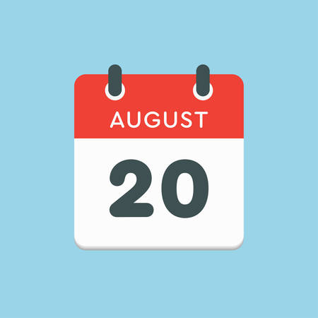 Vector icon calendar day - 20 August. Days of the year. Vector illustration flat style. Date day of month Sunday, Monday, Tuesday, Wednesday, Thursday, Friday, Saturday. Summer holidays in spring August.
