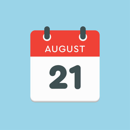 Vector icon calendar day - 21 August. Days of the year. Vector illustration flat style. Date day of month Sunday, Monday, Tuesday, Wednesday, Thursday, Friday, Saturday. Summer holidays in spring August.