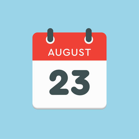 Vector icon calendar day - 23 August. Days of the year. Vector illustration flat style. Date day of month Sunday, Monday, Tuesday, Wednesday, Thursday, Friday, Saturday. Summer holidays in spring August. Ilustracja