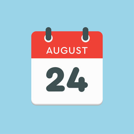 Vector icon calendar day - 24 August. Days of the year. Vector illustration flat style. Date day of month Sunday, Monday, Tuesday, Wednesday, Thursday, Friday, Saturday. Summer holidays in spring August. Ilustracja