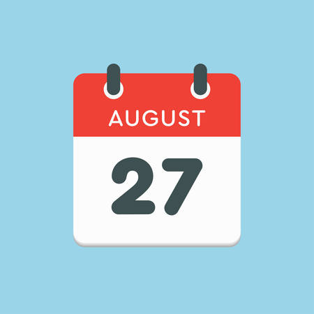 Vector icon calendar day - 27 August. Days of the year. Vector illustration flat style. Date day of month Sunday, Monday, Tuesday, Wednesday, Thursday, Friday, Saturday. Summer holidays in spring August.