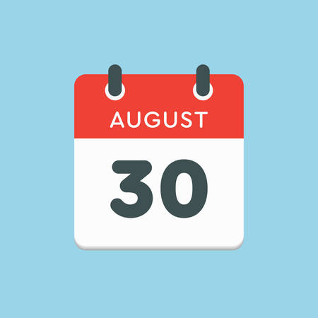 Vector icon calendar day - 30 August. Days of the year. Vector illustration flat style. Date day of month Sunday, Monday, Tuesday, Wednesday, Thursday, Friday, Saturday. Summer holidays in spring August.