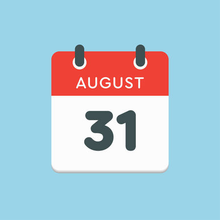 Vector icon calendar day - 31 August. Days of the year. Vector illustration flat style. Date day of month Sunday, Monday, Tuesday, Wednesday, Thursday, Friday, Saturday. Summer holidays in spring August. Ilustracja