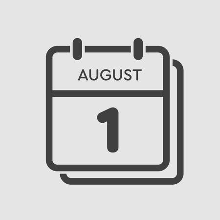 Vector icon calendar day - 1 August. Days of the year. Vector illustration flat style. Date day of month Sunday, Monday, Tuesday, Wednesday, Thursday, Friday, Saturday. Summer holidays spring August.