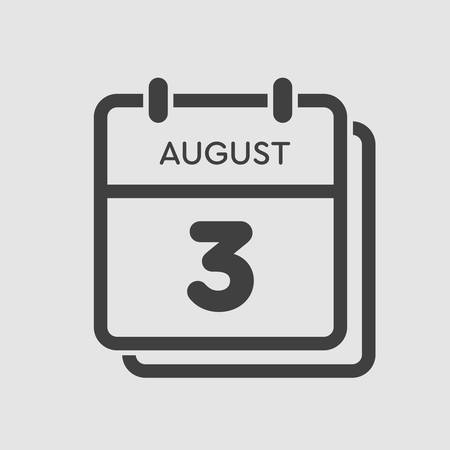 Vector icon calendar day - 3 August. Days of the year. Vector illustration flat style. Date day of month Sunday, Monday, Tuesday, Wednesday, Thursday, Friday, Saturday. Summer holidays spring August.