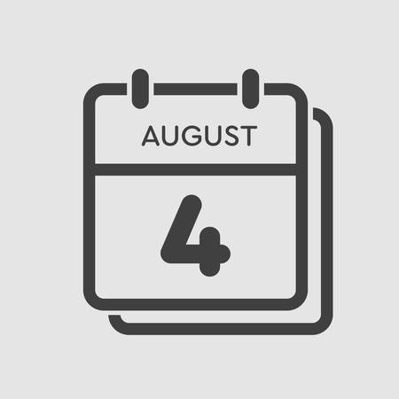 Vector icon calendar day - 4 August. Days of the year. Vector illustration flat style. Date day of month Sunday, Monday, Tuesday, Wednesday, Thursday, Friday, Saturday. Summer holidays spring August. Ilustracja