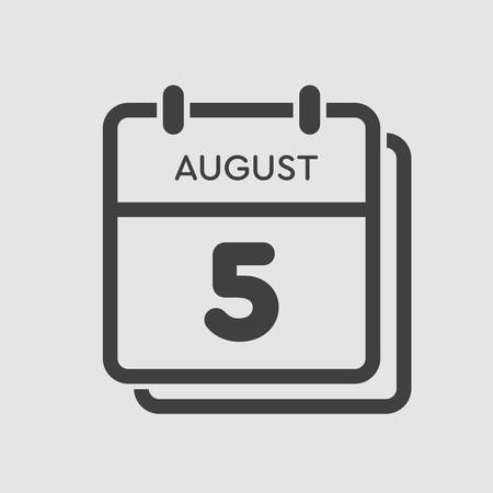 Vector icon calendar day - 5 August. Days of the year. Vector illustration flat style. Date day of month Sunday, Monday, Tuesday, Wednesday, Thursday, Friday, Saturday. Summer holidays spring August.