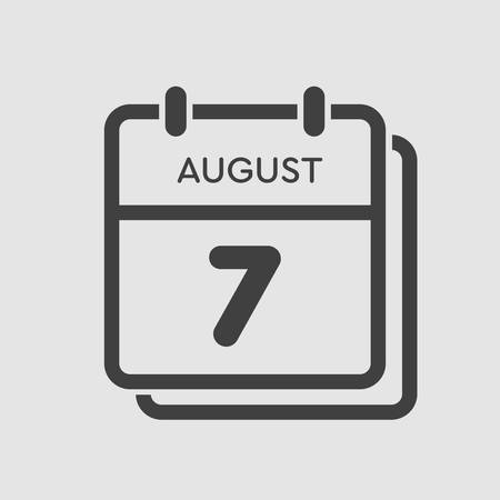 Vector icon calendar day - 7 August. Days of the year. Vector illustration flat style. Date day of month Sunday, Monday, Tuesday, Wednesday, Thursday, Friday, Saturday. Summer holidays spring August.