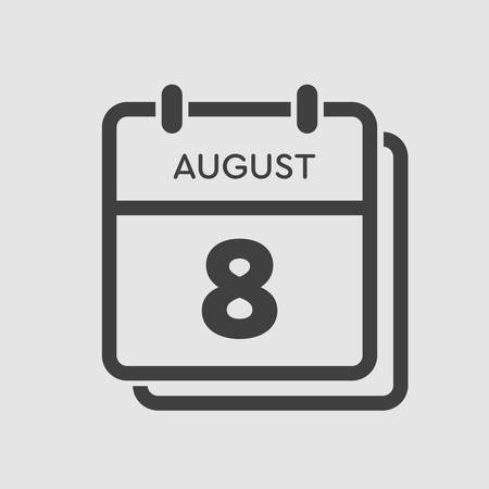 Vector icon calendar day - 8 August. Days of the year. Vector illustration flat style. Date day of month Sunday, Monday, Tuesday, Wednesday, Thursday, Friday, Saturday. Summer holidays spring August.