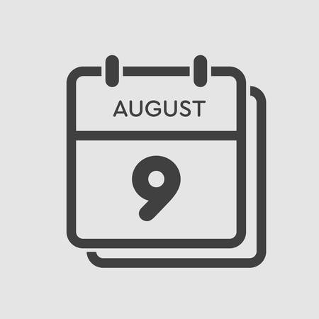 Vector icon calendar day - 9 August. Days of the year. Vector illustration flat style. Date day of month Sunday, Monday, Tuesday, Wednesday, Thursday, Friday, Saturday. Summer holidays spring August.