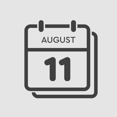 Vector icon calendar day - 11 August. Days of the year. Vector illustration flat style. Date day of month Sunday, Monday, Tuesday, Wednesday, Thursday, Friday, Saturday. Summer holidays spring August. Ilustracja