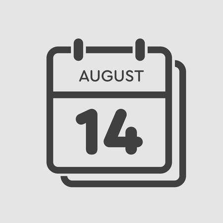Vector icon calendar day - 14 August. Days of the year. Vector illustration flat style. Date day of month Sunday, Monday, Tuesday, Wednesday, Thursday, Friday, Saturday. Summer holidays spring August.