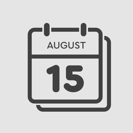Vector icon calendar day - 15 August. Days of the year. Vector illustration flat style. Date day of month Sunday, Monday, Tuesday, Wednesday, Thursday, Friday, Saturday. Summer holidays spring August.